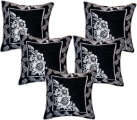 Creative Homes Floral Cushions Cover(Pack of 5, 40 cm*40 cm, Black)