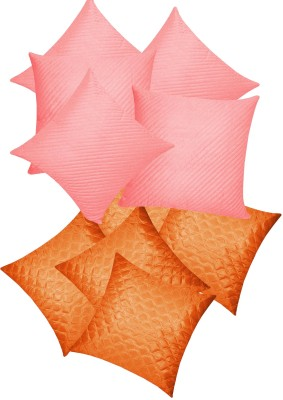 Zikrak Exim Checkered Cushions Cover(Pack of 10, 30 cm*30 cm, Pink, Orange) at flipkart