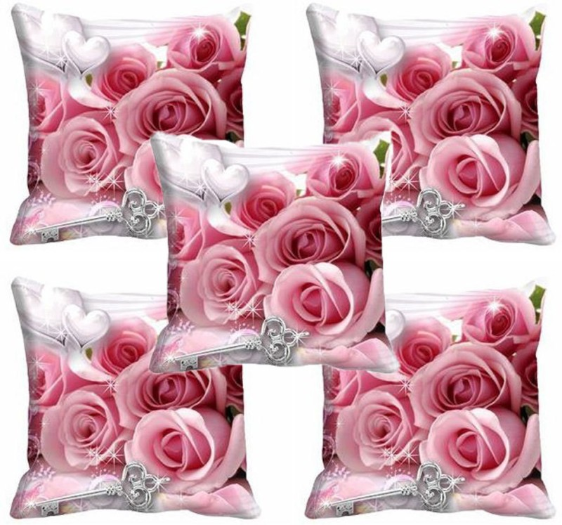 meSleep Floral Cushions Cover(Pack of 5, 40.64 cm*40.64 cm, Pink)