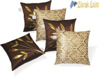 Zikrak Exim Floral Cushions Cover(Pack of 5, 40 cm*40 cm, Beige, Brown)