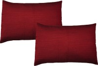 Home Shine Striped Pillows Cover(Pack of 2, 45 cm*70 cm, Maroon)