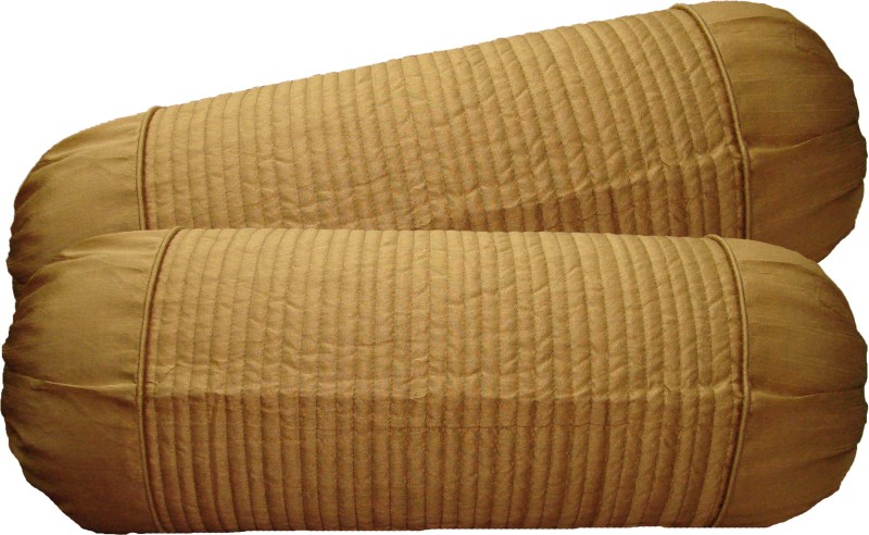 Home Shine Striped Bolsters Cover(Pack of 2, 40 cm*95 cm, Beige)