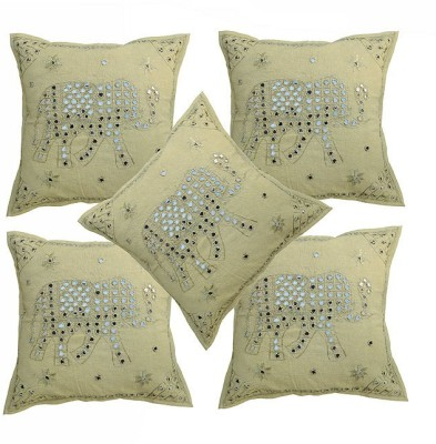 Pezzava Embroidered Bolsters Cover(Pack of 5, 40.64 cm*40.64 cm, Yellow)