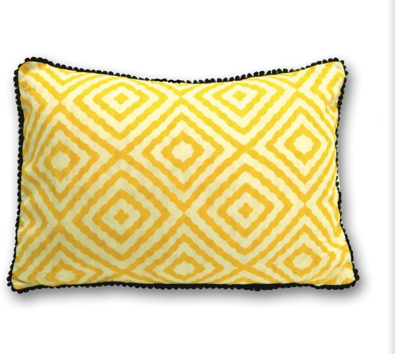 Ikeda Designs Geometric Bolsters Cover(30 cm*45 cm, Yellow)