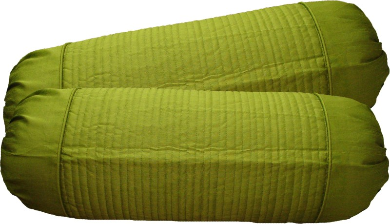 Home Shine Striped Bolsters Cover(Pack of 2, 40 cm*95 cm, Light Green)
