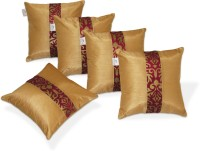 Zikrak Exim Damask Cushions Cover(Pack of 5, 40 cm*40 cm, Maroon, Gold)
