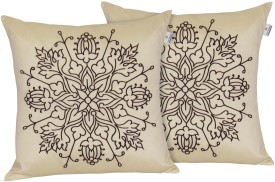 Hemden Embroidered Cushions & Pillows Cover(Pack of 2, 40 cm*40 cm, Beige, Brown)