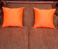 Home Kouture Plain Cushions Cover(Pack of 2, 40 cm, Orange)