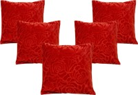 BELIVE-ME Floral Cushions Cover(Pack of 5, 40 cm*40 cm, Red)