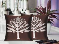 Hemden Embroidered Cushions Cover(Pack of 2, 40 cm*40 cm, Brown, Silver)