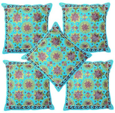 Pezzava Embroidered Bolsters Cover(Pack of 5, 40.64 cm*40.64 cm, Blue)