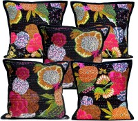 Amazing India Floral Cushions Cover(Pack of 5, 40 cm*40 cm, Black)