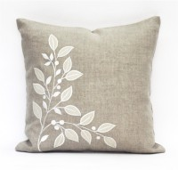 Blueberry Home Embroidered Cushions Cover(40 cm*40 cm, Beige)