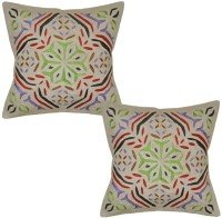 Lal Haveli Embroidered Cushions Cover(Pack of 2, 41 cm*41 cm, Beige)