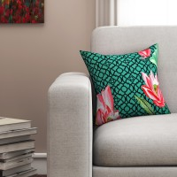 SEJ by Nisha Gupta Floral Cushions Cover(40.64 cm*40.64 cm, Green)