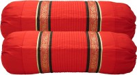 Home Shine Striped Bolsters Cover(Pack of 2, 80 cm*80 cm, Red)