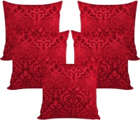 Zikrak Exim Damask Cushions Cover(Pack of 5, 40 cm*40 cm, Red)