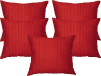 Home Shine Striped Cushions Cover(Pack of 5, 40 cm*40 cm, Red)