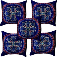 Hometexbazar Embroidered Cushions Cover(Pack of 5, 40 cm, Multicolor)