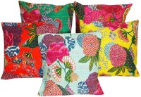 Halowishes Floral Cushions Cover(Pack of 5, 40.64 cm*40.64 cm, Multicolor)