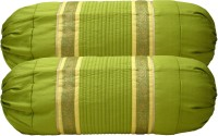 Home Shine Striped Bolsters Cover(Pack of 2, 80 cm*80 cm, Light Green)