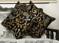 Dekor World Embroidered Cushions Cover(Pack of 2, 40 cm*40 cm, Black)