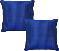 Home Shine Striped Cushions Cover(Pack of 2, 40 cm*40 cm, Blue)