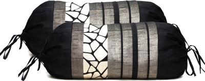 Zaffre,s Geometric Bolsters Cover(Pack of 2, 38 cm*38 cm, Black)