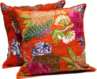 Amazing India Floral Cushions Cover(Pack of 2, 40 cm*40 cm, Orange)