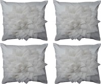 Home Shine Floral Cushions Cover(Pack of 4, 40 cm*40 cm, White)