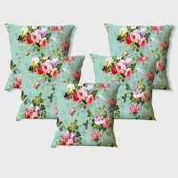 La Verve Floral Cushions Cover(Pack of 5, 40 cm*40 cm, Multicolor)