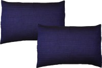 Home Shine Striped Pillows Cover(Pack of 2, 45 cm*70 cm, Blue)