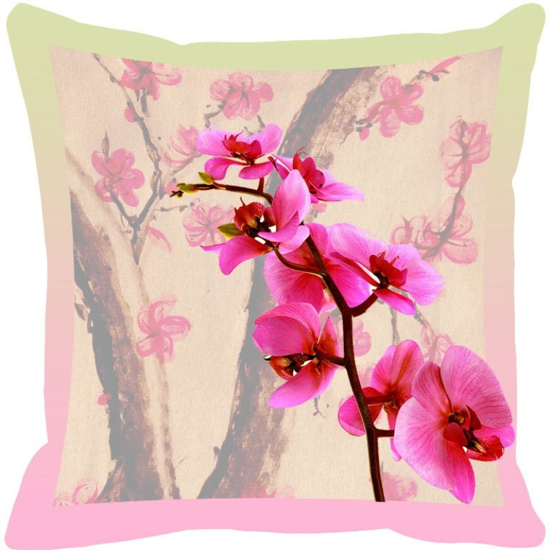 Leaf Designs Printed Cushions Cover(46 cm*46 cm, Multicolor)