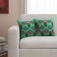 SEJ by Nisha Gupta Floral Cushions Cover(Pack of 2, 40.64 cm*40.64 cm, Green)
