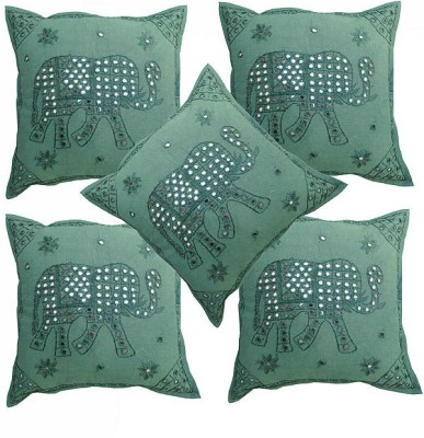 Pezzava Embroidered Bolsters Cover(Pack of 5, 40.64 cm*40.64 cm, Green)