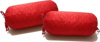 Zikrak Exim Self Design Bolsters Cover(Pack of 2, 30 cm*30 cm, Red)