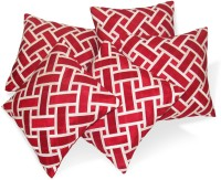 Zikrak Exim Abstract Cushions Cover(Pack of 5, 40 cm*40 cm, Red, White)