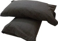 Adt Saral Checkered Pillows Cover(Pack of 2, Black, White)