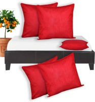 Salona Bichona Plain Cushions Cover(Pack of 5, 40 cm*40 cm, Red)