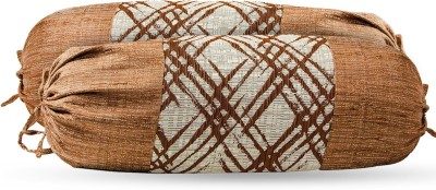 Zaffre,s Checkered Bolsters Cover(Pack of 4, 38 cm*76 cm, Brown)