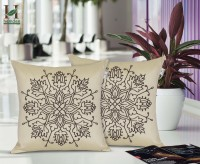 Hemden Embroidered Cushions Cover(Pack of 2, 40 cm*40 cm, Beige, Brown)