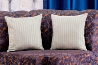 Dekor World Striped Cushions Cover(Pack of 2, 40 cm*40 cm, White)