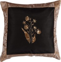 meSleep Embroidered Cushions Cover(40.64 cm*40.64 cm, Black)