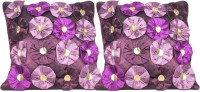 Mysha Floral Cushions Cover(Pack of 2, 41 cm*41 cm, Purple)