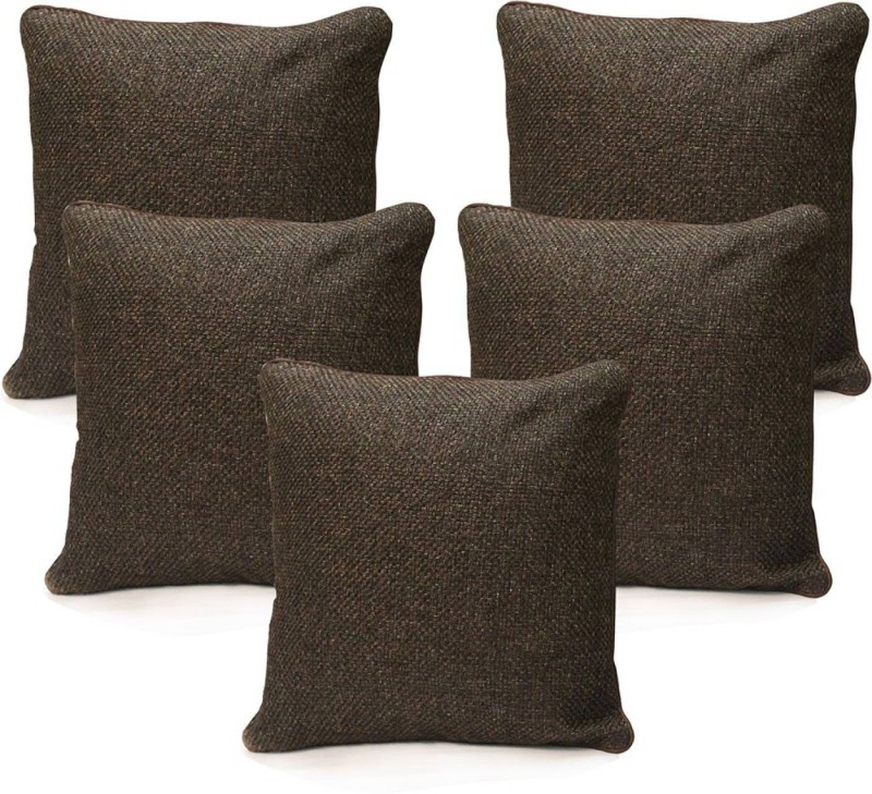KINGLY Plain Cushions Cover(Pack of 5, 40.64 cm*40.64 cm, Brown)