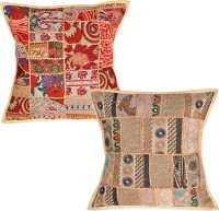Lal Haveli Abstract Cushions Cover(Pack of 2, 45 cm*45 cm, Beige)
