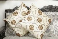 Dekor World Embroidered Cushions Cover(Pack of 2, 40 cm*40 cm, Beige)