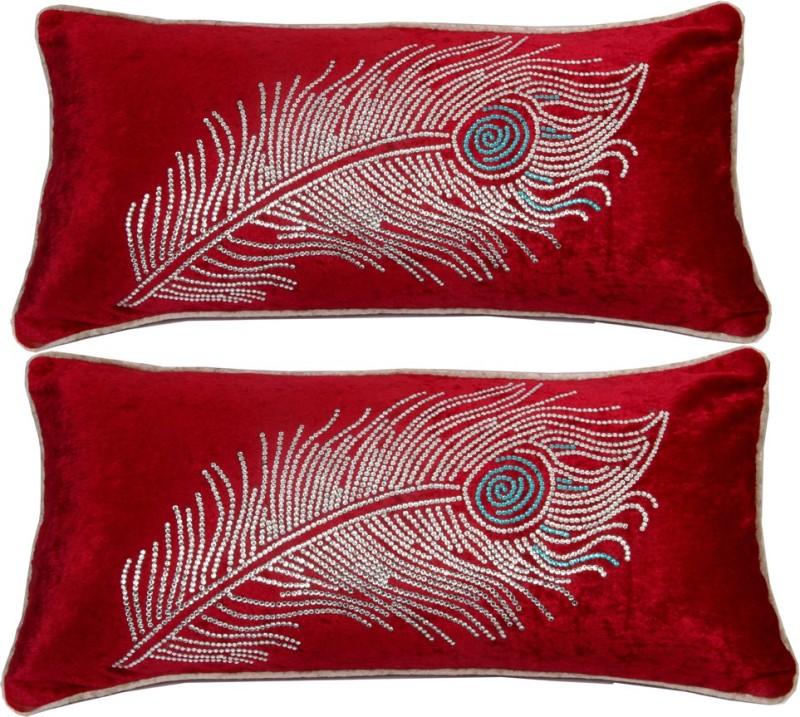 RI Decor Abstract Bolsters Cover(Pack of 2, 30 cm*56 cm, Red)