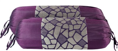 Zaffre,s Abstract Bolsters Cover(Pack of 2, 38 cm*76 cm, Purple)