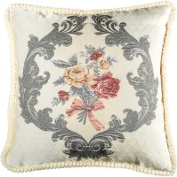 Home Artisan Floral Cushions Cover(45 cm*45 cm, Beige)
